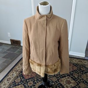 Banana republic faux fur hem tan zip-up peacoat